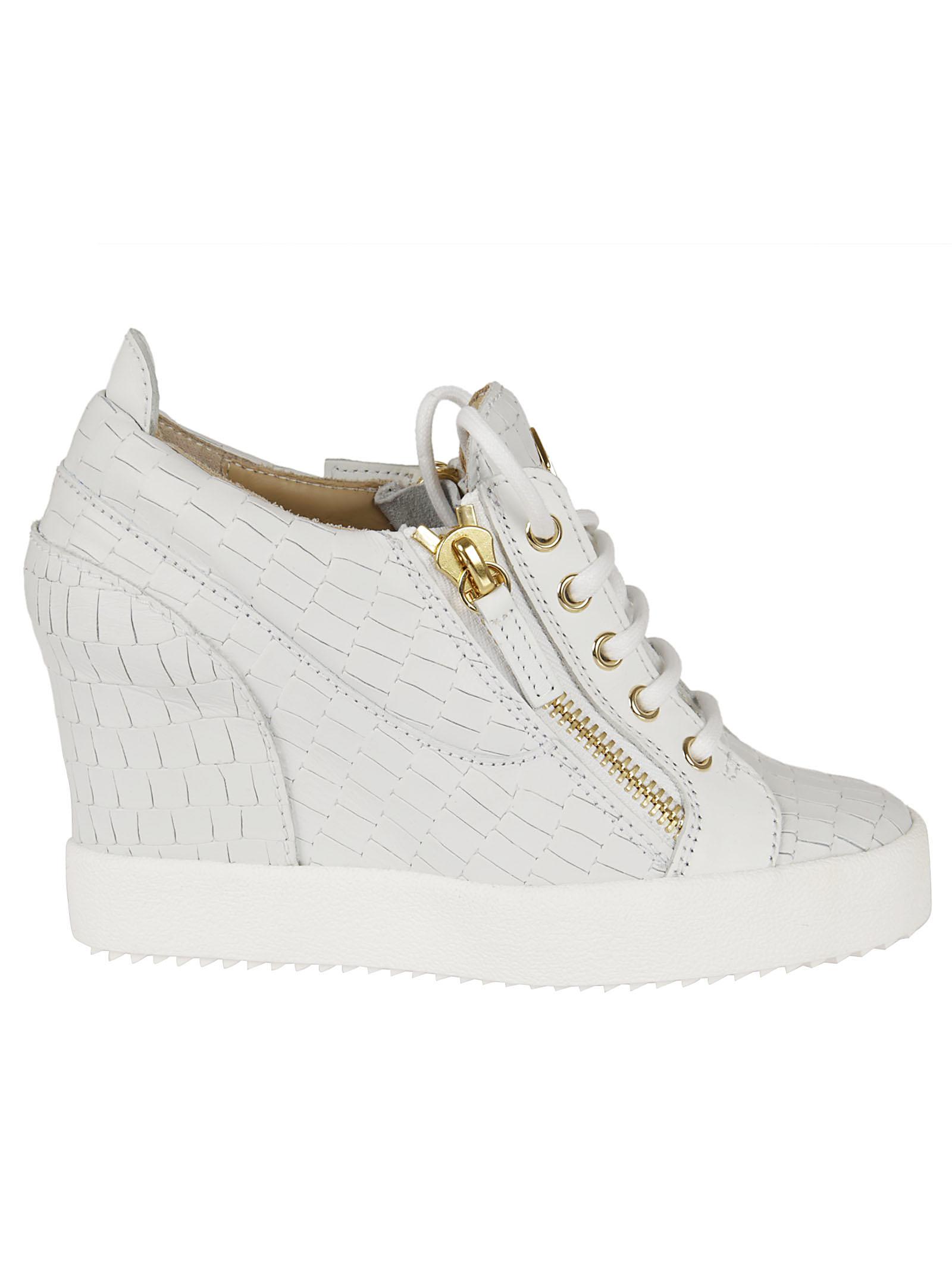 Giuseppe Zanotti Giuseppe Zanotti Crocodile Effect Hi-Top Wedge Sneakers