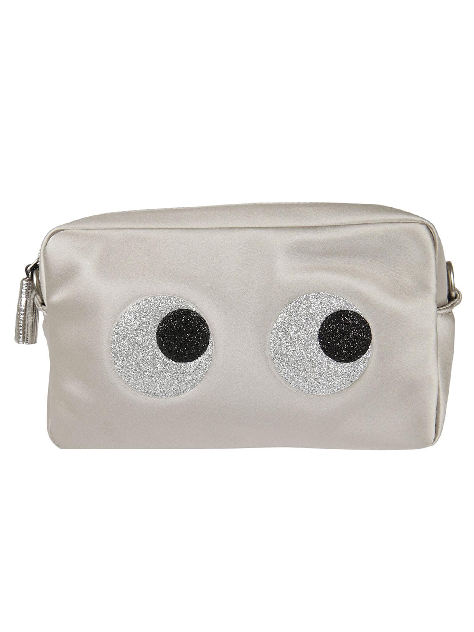 Anya Hindmach chain clutch glitter eyes in satin