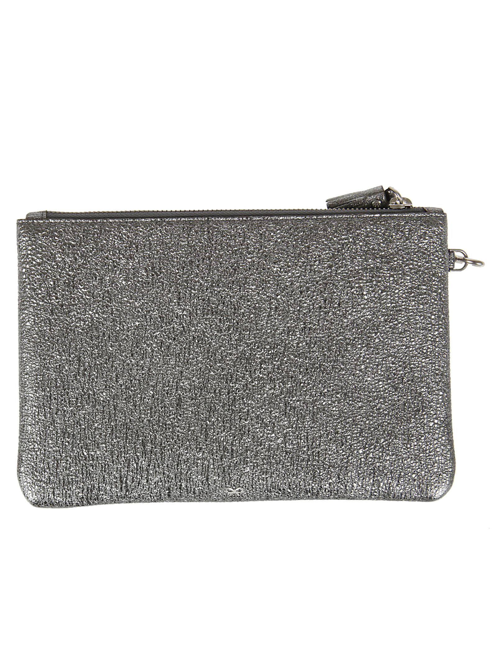 Anya Hindmach zip top pouch diamante eyes in crinkled metallic