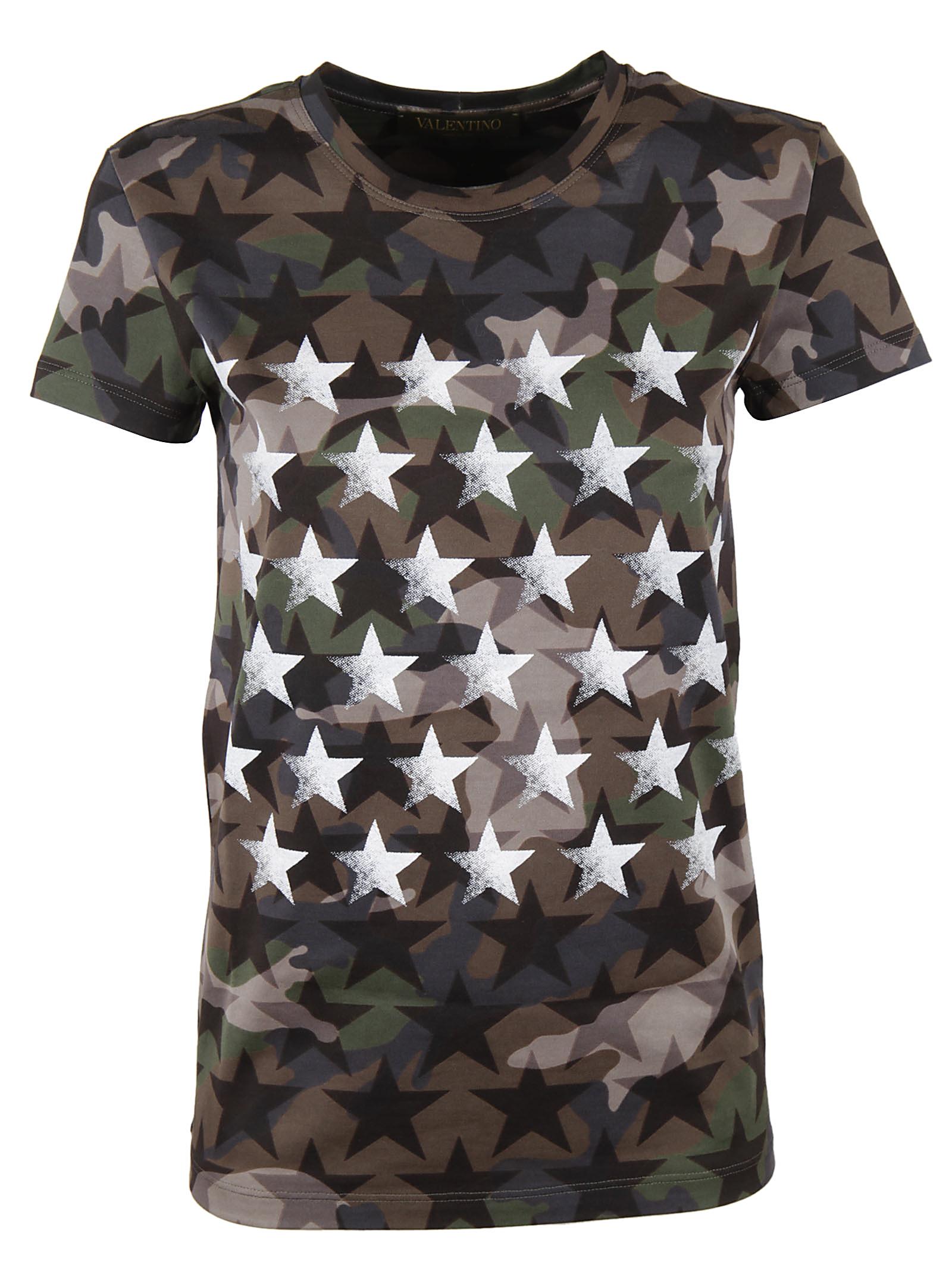 Valentino Valentino Camouflage and Star Print T-shirt