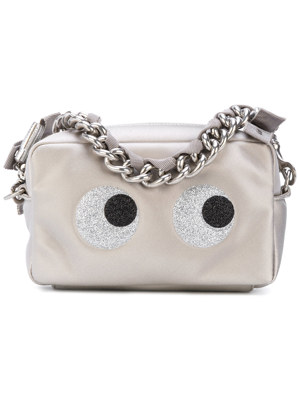 Anya Hindmach chain clutch glitter eyes in satin