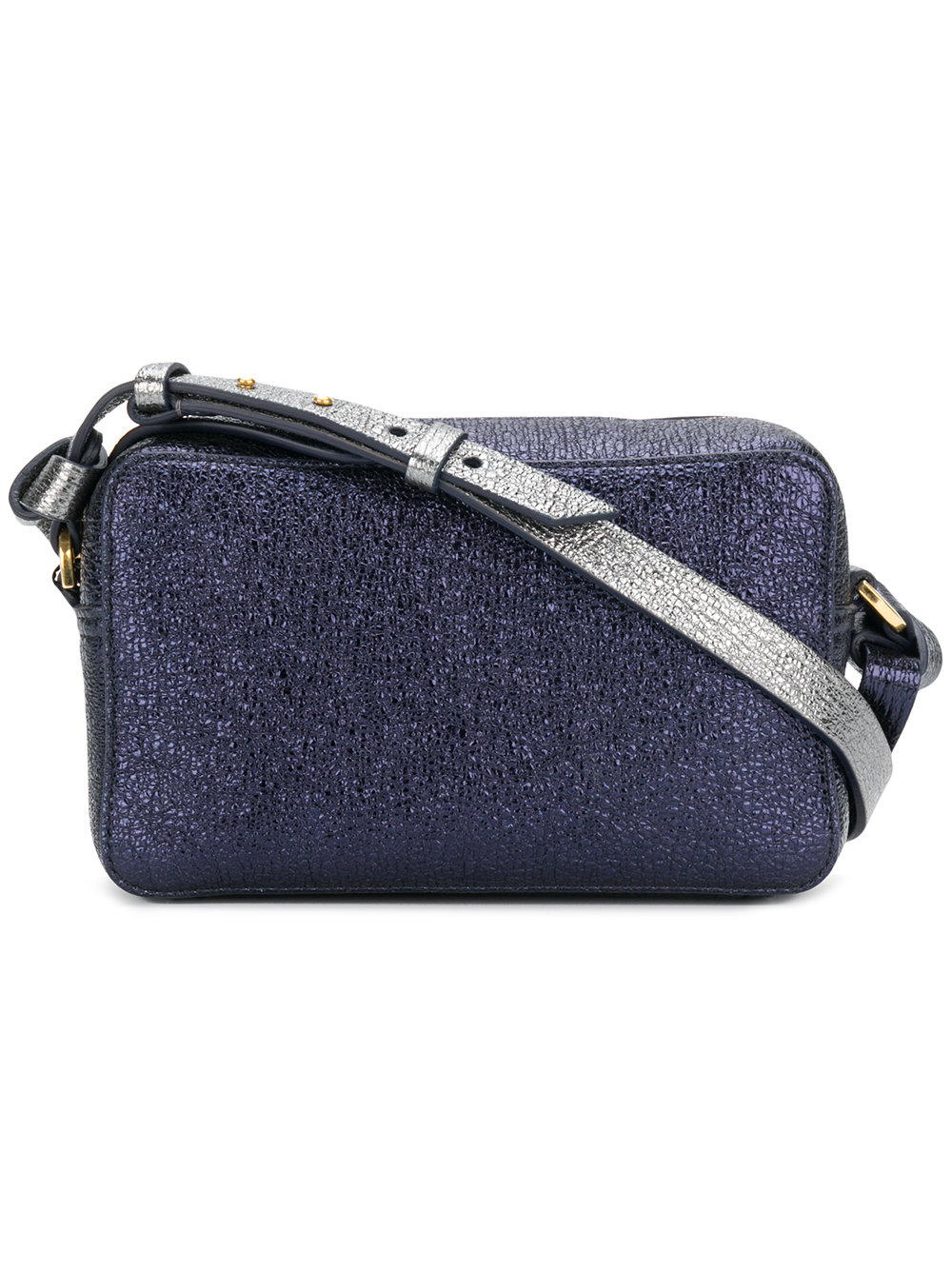 Anya Hindmach crossbody mini circle in crinkled metallic