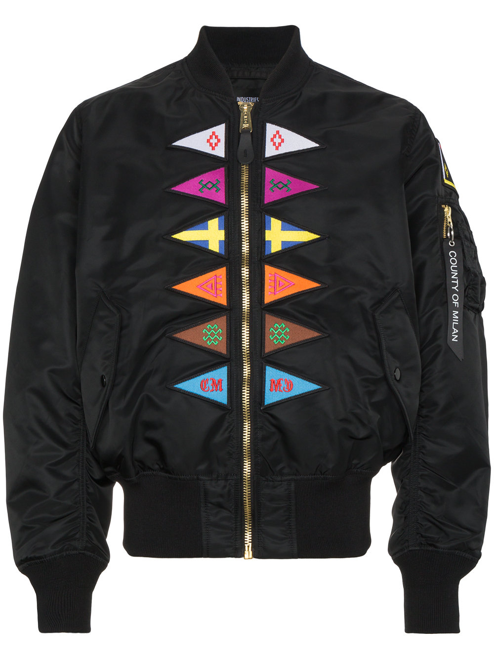 Marcelo Burlon Man FLAGS ALPHA MA-1 BLACK MULTICOLOR