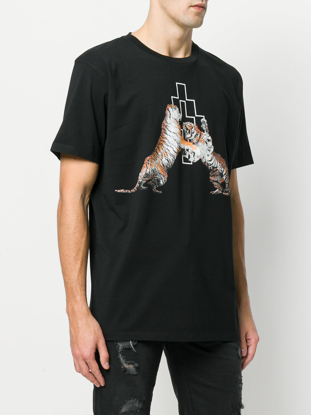 Marcelo Burlon Man DOUBLE TIGER T-SHIRT BLACK MULTICOLOR