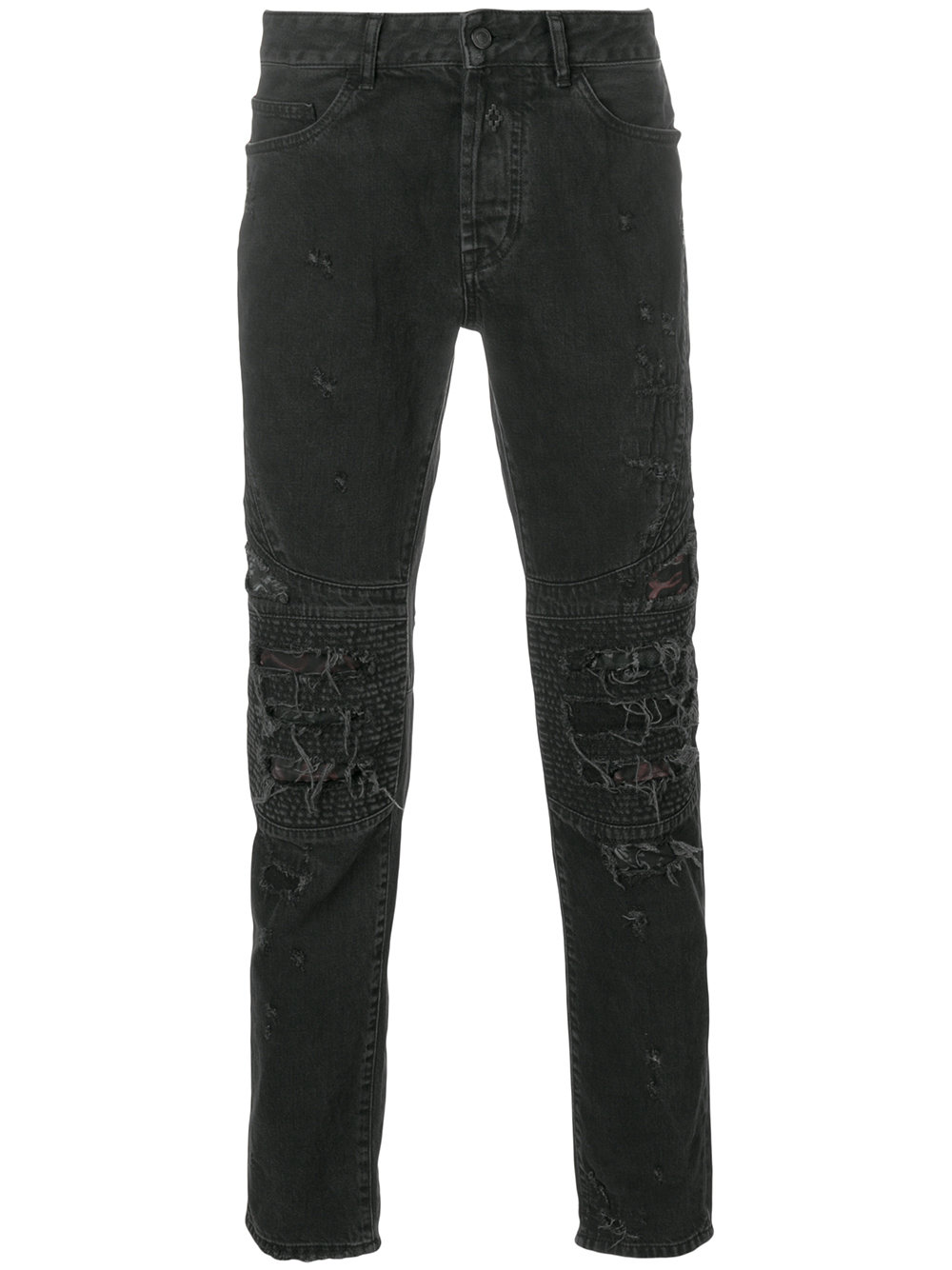 Marcelo Burlon Man BLACK SNAKE BIKER FIT JEANS STRONG WASH
