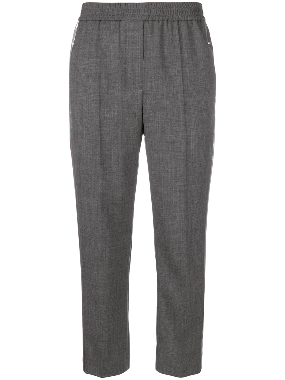brunello cucinelli metallic stripe cropped trousers