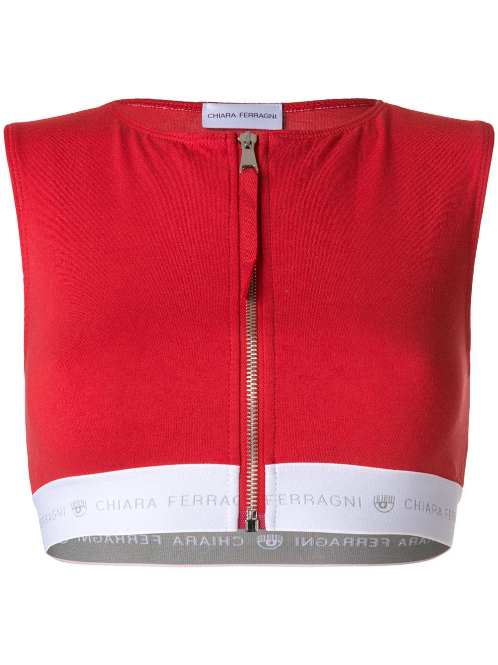 Chiara Ferragni zipped crop top bra