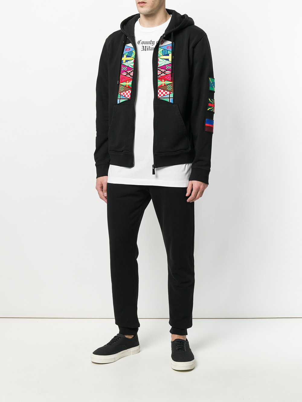 Marcelo Burlon Man FLAGS ZIP HOOD BLACK MULTICOLOR