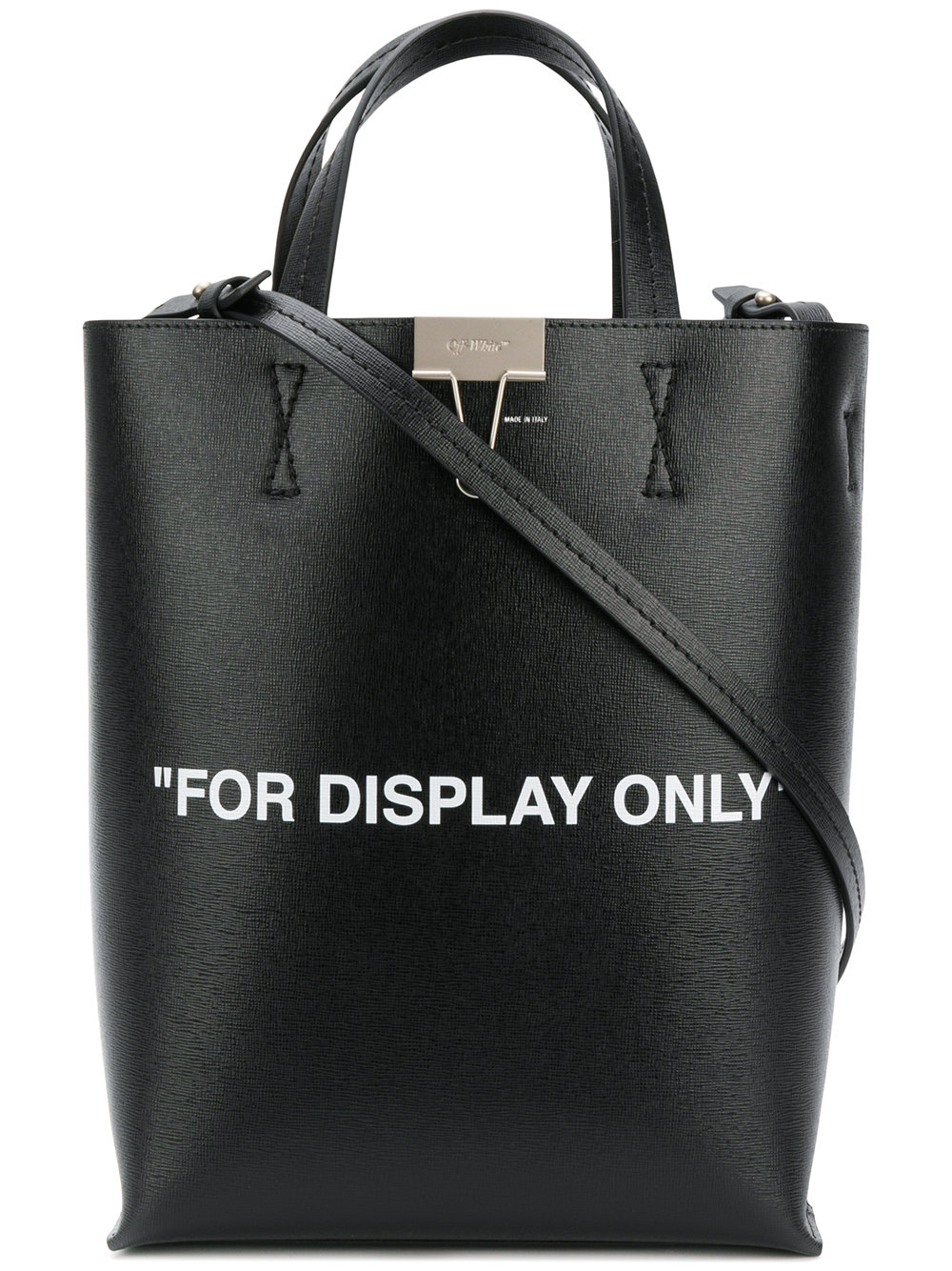 Marcelo Burlon Man VIRGIL WAS NOT HERE TOTE BLACK WHIT