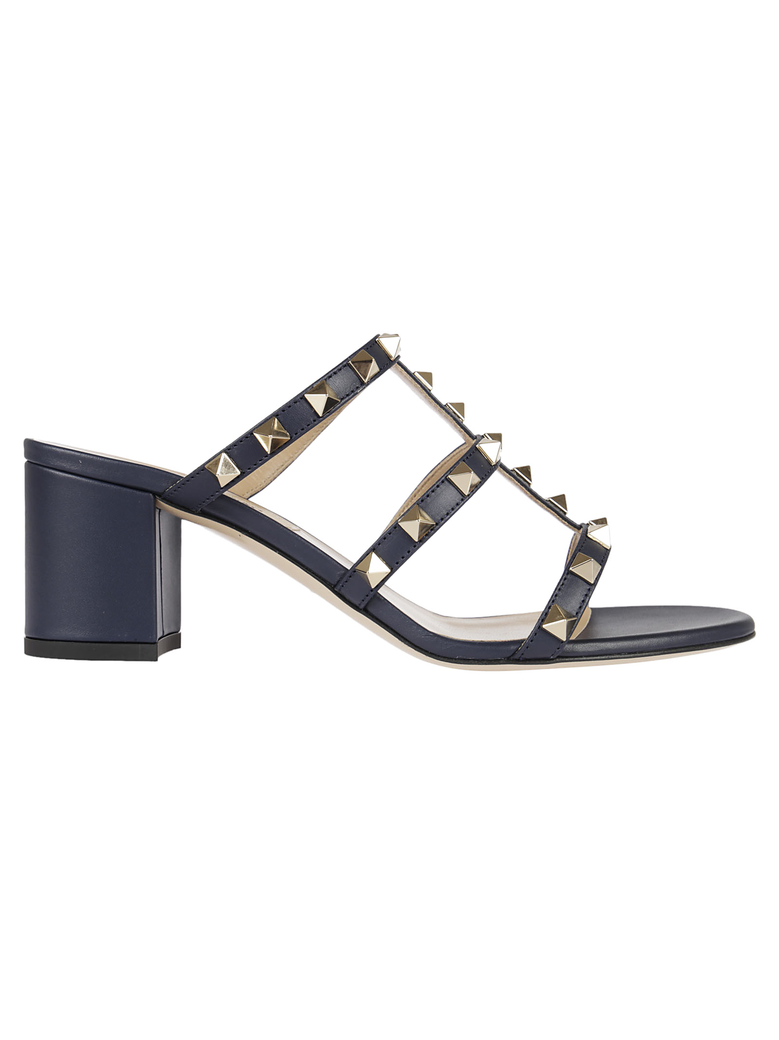 Valentino Garavani Rockstud Leather Block Heel Slides
