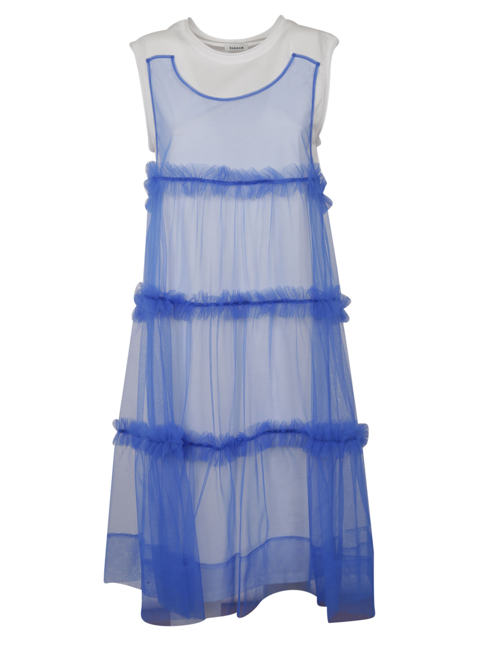 Parosh tulle layered sleeveless dress