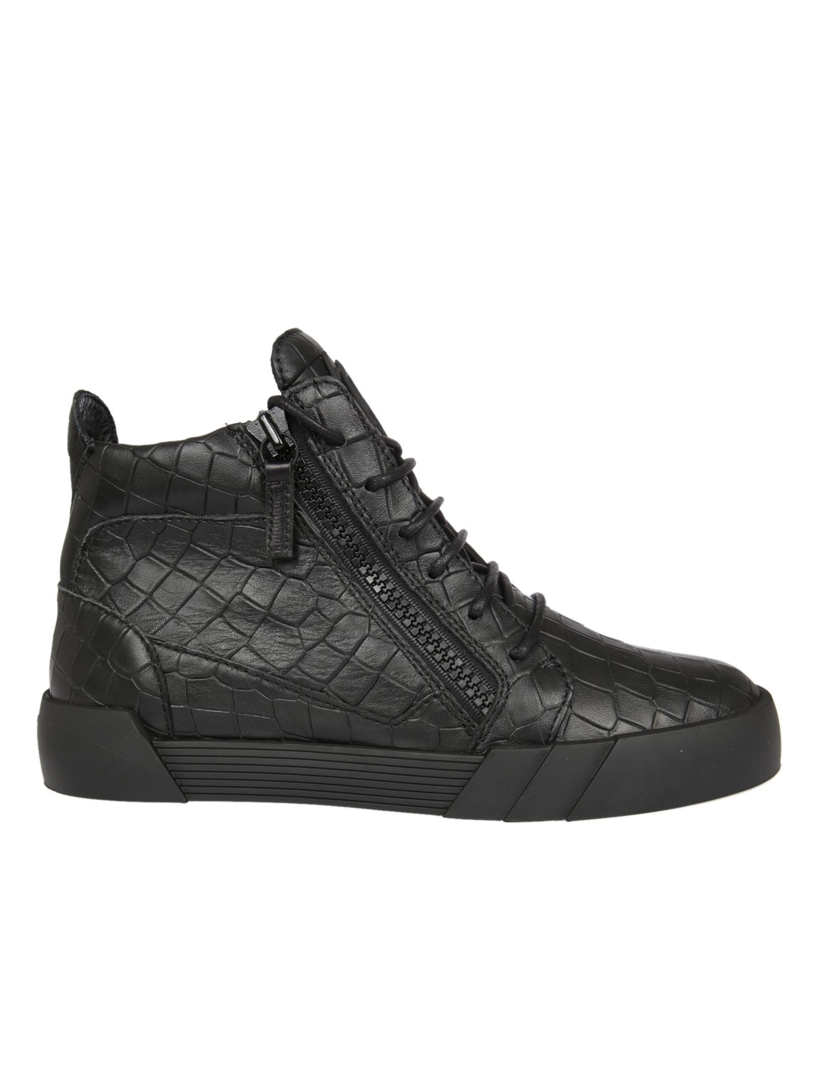 Giuseppe Zanotti Giuseppe Zanotti Crocodile Effect Hi-Top Sneakers