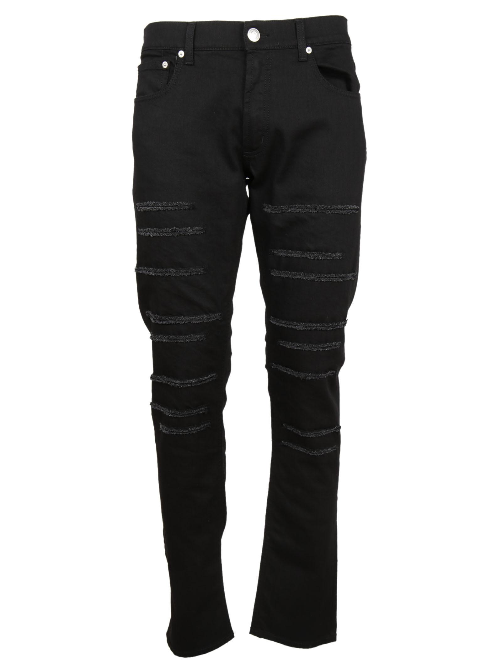 Alexander McQueen Alexander McQueen Textured Panel Slim-Fit jeans